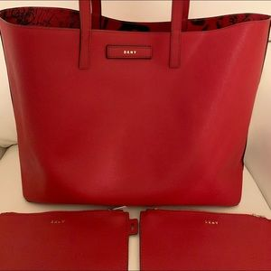 DKNY Brayden Large Graffiti Tote In Bright Red